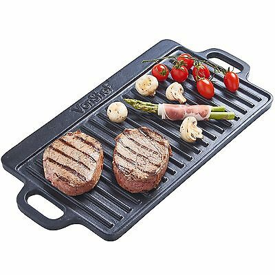 VonShef Non-Stick Cast Iron Reversible Griddle Plate Pan
