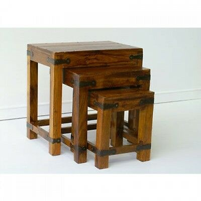 Indian Jali Nest Of Tables Solid Sheesham Rosewood by Mercers Furniture®