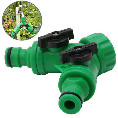 Y Shaped Garden Hose Pipe Splitter 2 Way Connector Turn Off Plastic Tap Adaptor