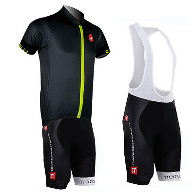 Outdoor Sports Pro Team Men's Short Sleeve Cycling Jersey and Bib Shorts Outfits