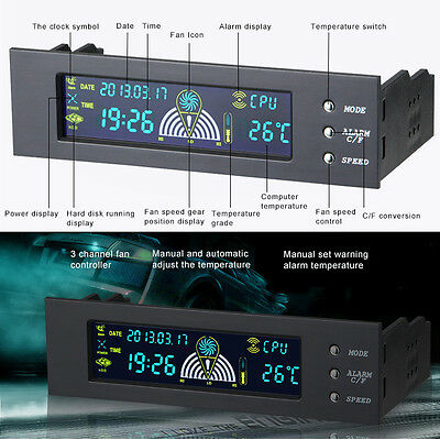 """5.25"""" Bay Front LCD Panel 3 Fan Speed Controller CPU Temperature Sensor Cooling"""