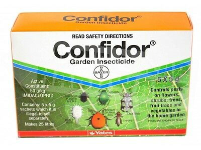 Yates CONFIDOR Garden Insecticide 5 x 5 gms Targets sucking Insects