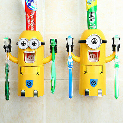 Despicable Me Toothbrush Holder Minions Auto Toothpaste Squeezer Dispenser Kids