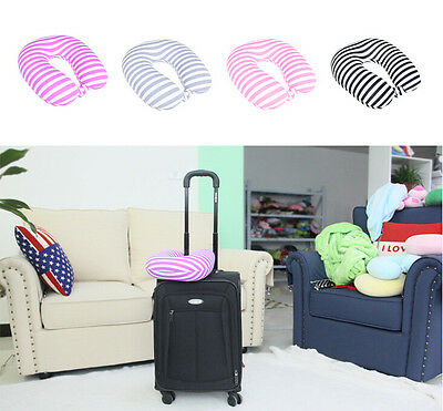 Solid Stripe U Shaped Travel Pillow Neck Support Head Car Office Rest Cushion