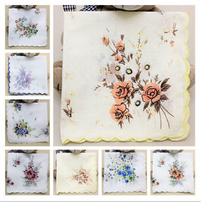 Lot 10 Vintage Style Floral Handkerchief Lady Women Cotton Hanky