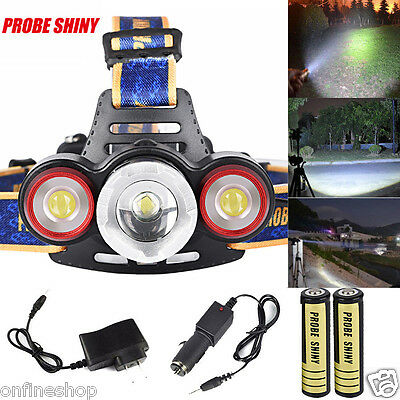 15000LM Headlamp XML T6+2R5 3 LED Head Light Torch+Car/USB Charger+18650 Battery