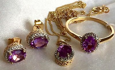 Lavender Alexite Dia Solitaire Ring Pendant & Earrings 14k Gold On Silver (N)set