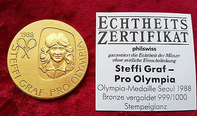 Medallie Steffi Graf pro Olympia 1988 Olypiamedaille Seoul Bronce vergoldet #81