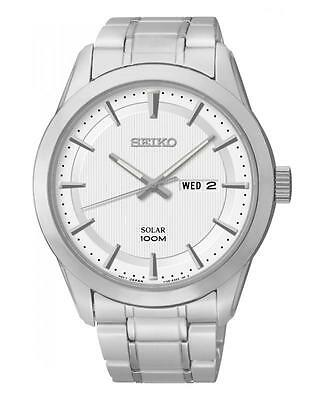 Seiko SNE359P1 Solar 100mwr Stainless Steel Day/Date 100m WR Watch  RRP £149