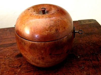 ANTIQUE APPLE TEA fruitwood CADDY superb GENUINE treen Apple C. 1830  with key