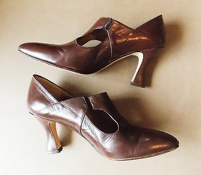 """Vintage 1980s Size 39 Luison Brown Italian All Leather Women's Shoes- 2.5"""" Heel"""