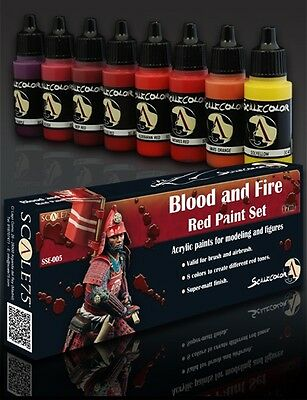 PAINT SET BLOOD and FIRE SSE-005 Acrylic paint Scale75 Airbrush Brush red 40k