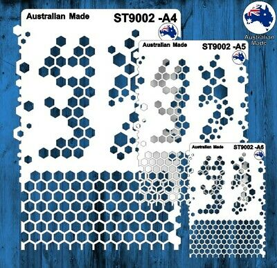 Stencils, Masks for Scrapooking, Cardmaking - ST9002 Hexagons, A4, A5, A6