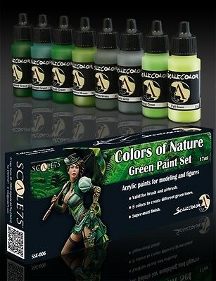 PAINT SET COLORS of NATURE SSE-006 Acrylic paint Scale75 Airbrush Brush Green