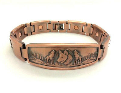 Arthritis Magnetic Copper Bracelet With 3 Wolves On The Front ~8.25 Inch 5362