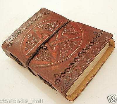 Handmade Leather Bound Journal Blank Diary Celtic Pentagram Book of Shadow Wicca