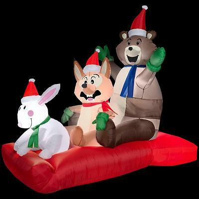 Gemmy 43 in. W x 72 in. D x 72 in. H Animated Inflatable Woodland Sled Scene