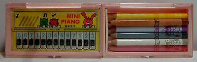 MELODY VTG 80's MINI PIANO IN PINK 8'' MUSICAL PENCIL CASE w/ PENCILS TAIWAN