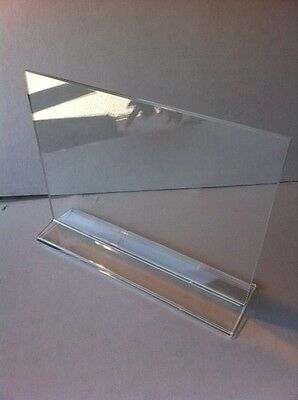Lot of 10 Acrylic Sign Holder, Horizontal, Top Insert, T-style - Clear 8.5 x 11