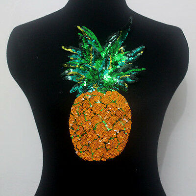 1 Pcs Pineapple Sequin Applique Patch Motif Sew On Green Yellow For Sewing/Craft