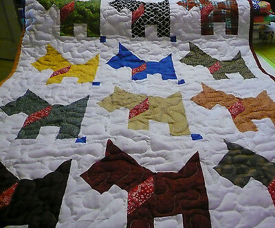 Handcrafted Boy Girl Pieced Scottie Dog Multi Color Baby Crib Throw Quilt 40X50""