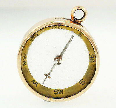 Antique 10ct Yellow Gold Compass Charm (23x19mm)