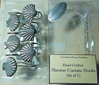 Seashell Shower Curtain Hooks Hand Painted Silver with Bronze Tips NIP