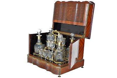 19th Century Complete Kingwood & Parquetry French Cave a liqueurs