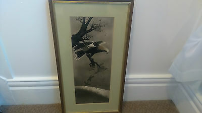 Antique 19th Century Chinese   Watercolour of a eagle on paper
