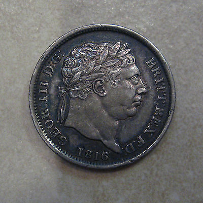 Silver Shilling 1816 Coin King George Iii Extremely Fine Grade Toned