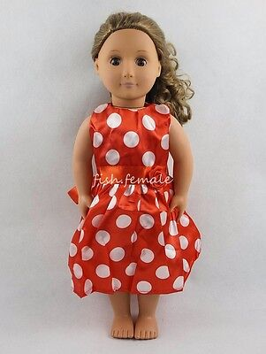 Red Wave Point Dress Party Skirt For 18''American Girl Doll Clothes Girl Gifts