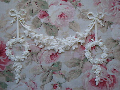 New! Rose Swag & Rose Wreath Drops Furniture Applique Architectural Pediment