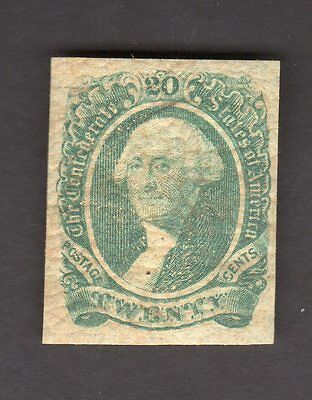 US Confederate States of America Scott # 13 Mint Hinged Stamp
