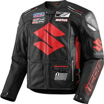 Suzuki Black S Motorcycle Motorbike Racing Biker Real Leather Jacket,CE Armor