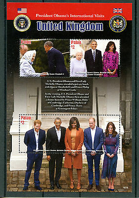 Palau 2016 MNH US President Barack Obama Visits UK 3v M/S Queen Royalty Stamps