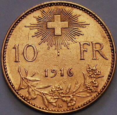Switzerland Gold Coin . 10 Francs 1916 B  KM# 36