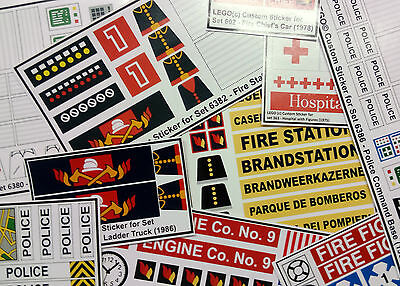 ●● Custom Lego Sticker Stickers - vintage sets ( Fire, Police & Medic ) ●●