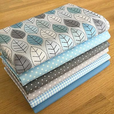 WINTER Fat Quarter Bundle {2} 100% cotton ~ season, blue, grey, leaf fabrics