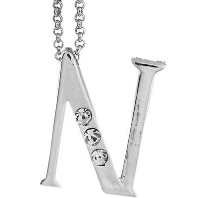 16'' Rhodium Plated Necklace w/ ''N'' Initial & Crystals by Matashi