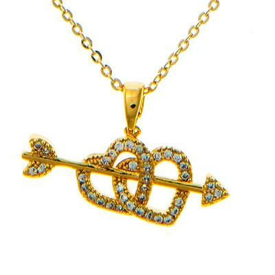 16'' Champagne Gold Necklace w/ Cupid's Arrow Double Heart & Crystals by Matashi