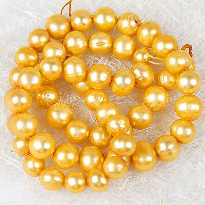 7-8mm Yellow Cultured Freshwater Pearl Oval Loose Beads
