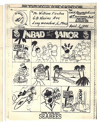 """Original WWII V Mail SeaBees Cartoon - See Scan!! Approx 5"""" x 4 1/4"""" Original!"""
