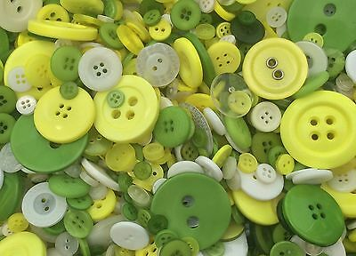 Buttons - 100G Job Lot - Spring Mix Yellow Green White - Mixed Size & Shade 10D