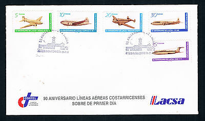 COSTA RICA 2 FDCs • 1996 • AIRPLANES STAMPS COMPLETE SET ON 2 COVERS •