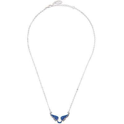 16'' Rhodium Plated Necklace w/ Outspread Angel Wings & Clear Crystals by Matash