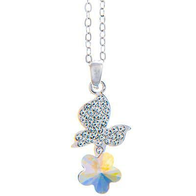 16'' Rhodium Plated Necklace w/ Butterfly Flower & Colored Crystals by Matashi