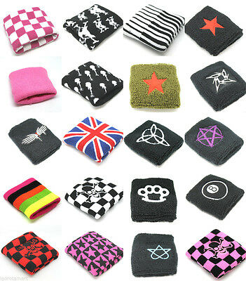 Pair Designed Sports Workout Cotton Wrist Sweat Bands Terry Cloth Sweatbands