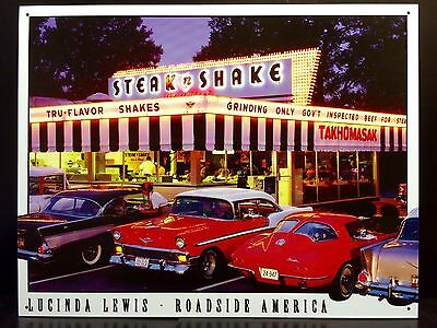 Steak n Shake 50's Diner Classic Car TIN SIGN Lewis Vtg Metal Wall Decor