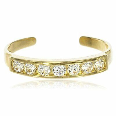 Real 10k Yellow Gold Bar with Cubic Zirconia Stones Toe Ring