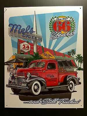Mels Drive- in Diner Vtg Antique Truck 66 Years TIN SIGN Metal Wall Bar Decor